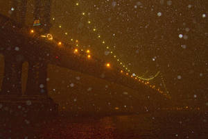Manhattan Bridge in Snow